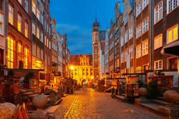 Fototapeta Gdańsk Mariacka street and gate, Gdansk Old Town, Poland