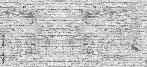 Staande foto Graffiti Long white brick wall