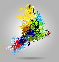 Vector Illustration Of Flying Macaw