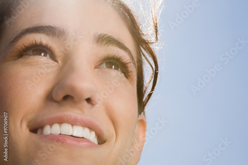 Photo  Face of a woman in sunlight