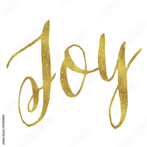 Fotografie, Tablou  Joy Gold Faux Foil Metallic Glitter Christmas Quote Isolated on