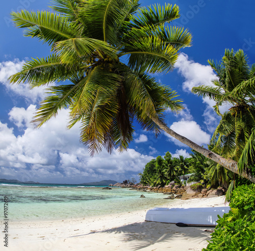 Staande foto Tropical strand Anse La Blague beach at Praslin island, Seychelles.