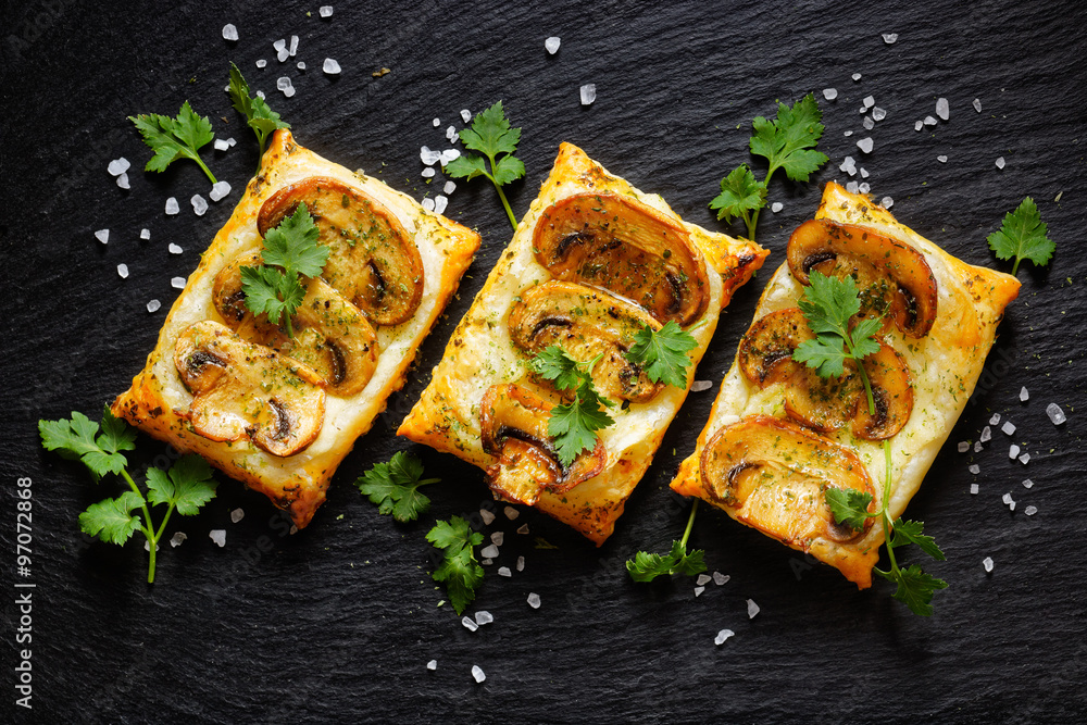 Fototapety, obrazy: Mini mushroom tarts with puff pastry . Delicious vegetarian appetizer