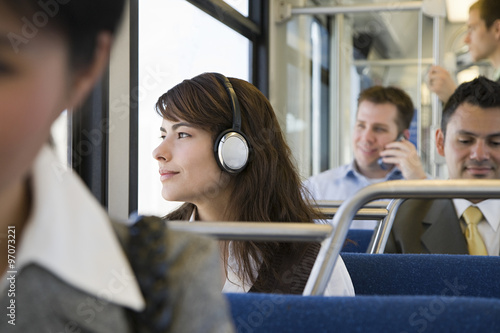 Commuters on train Canvas Print