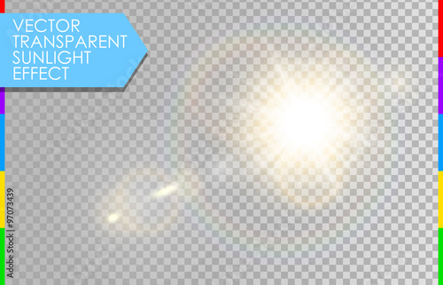 Vector transparent sunlight special lens flare light effect. Sun with rays and spotlight