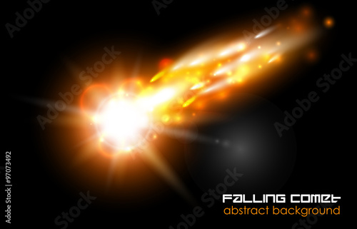 Photo  Comet, fireball or meteor glow abstract background