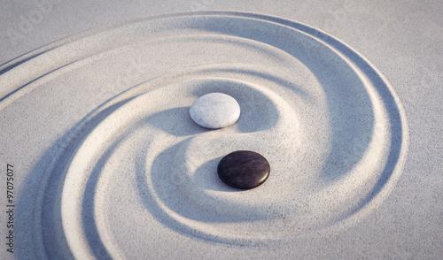 Poster Stenen in het Zand Yin Yang Motiv - Steine im Sand