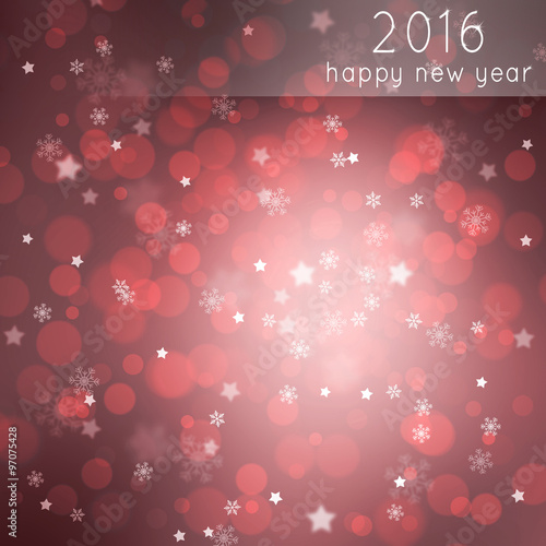 beautiful red colored blurry bokeh 2016 happy new year greeting card with blurred star shapes and