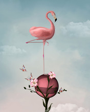 Surreal Composition With Flamingo And Flowers