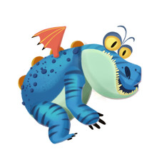 Illustration: The Sloth Dragon Monster Isolated On White Background. Realistic Fantastic Cartoon Style Character / Monster Design.