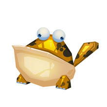 Illustration: The Frog Monster Isolated On White Background. Realistic Fantastic Cartoon Style Character / Monster Design.