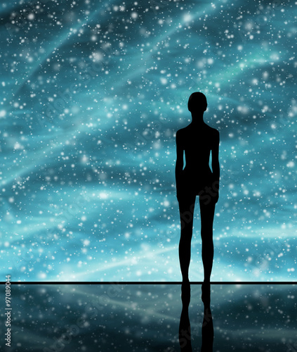 Foto op Canvas UFO Abstract Christmas background. Winter sky, snowflakes and stars.