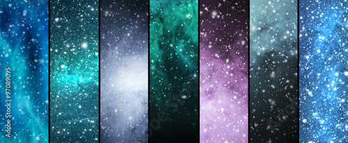 Blizzard, snowflakes, universe and stars Wallpaper Mural