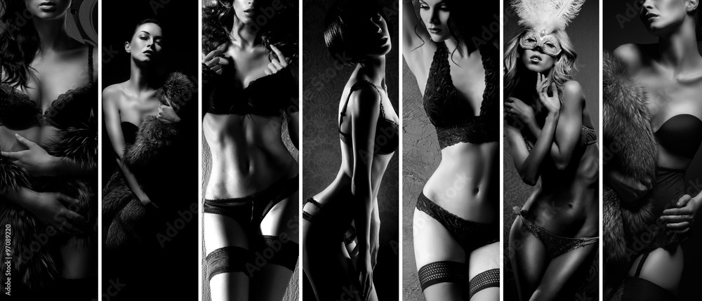 Fototapeta Black and white collage. Sexy women posing in beautiful lingerie over vintage background.
