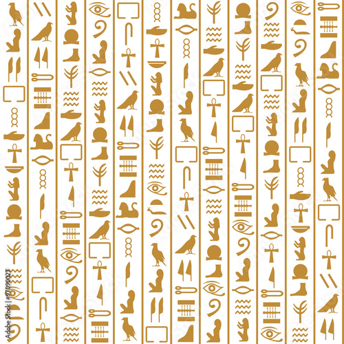 Ancient Egyptian vector seamless vertical pattern with hieroglyphs ...