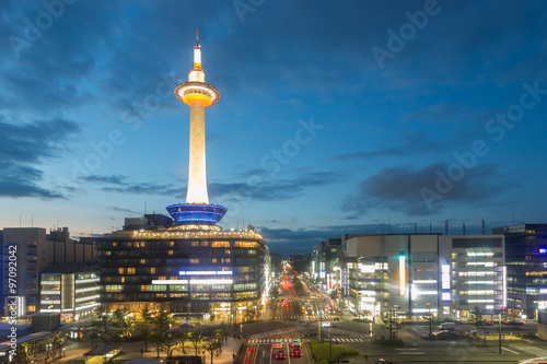 Poster Kyoto Kyoto Tower Downtown Aerial View Evening Twilight