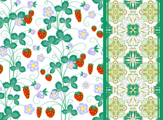 Set of vector hand drawn seamless strawberry pattern and border or tape, ribbon, band.