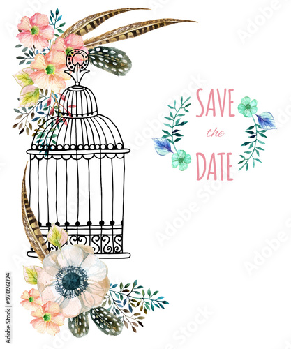 Recess Fitting Birds in cages Watercolor card with bird cage and flowers.