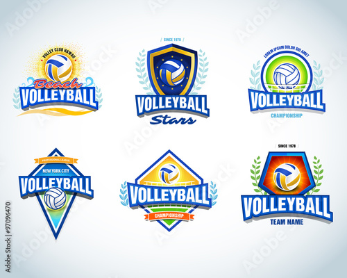 Volleyball Tournament T Shirt Designs | Volleyball Logo Templates Set Volleyball Emblem Logotype Template