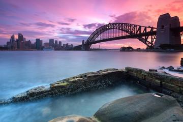 Sydney pejzażu miejskiego widok przy zmierzchem