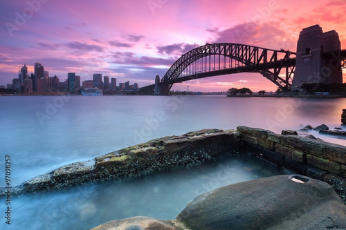 Sydney cityscape view at sunset Poster