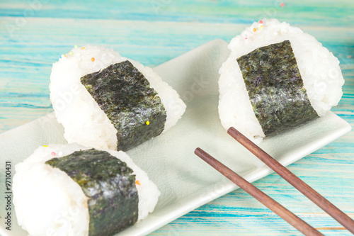 Rice ball,onigiri ,rice mixing with seaweed. #97100431