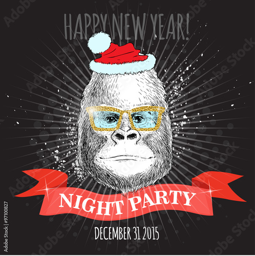 happy new year night party poster gorilla monkey hipster with glitter glasses and christmas hat