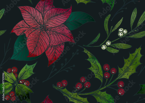 Cotton fabric Vector seamless pattern with hand drawn winter plants