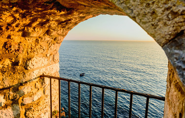 FototapetaView on the sea from the fortress window in old town Ulcinj, Mon