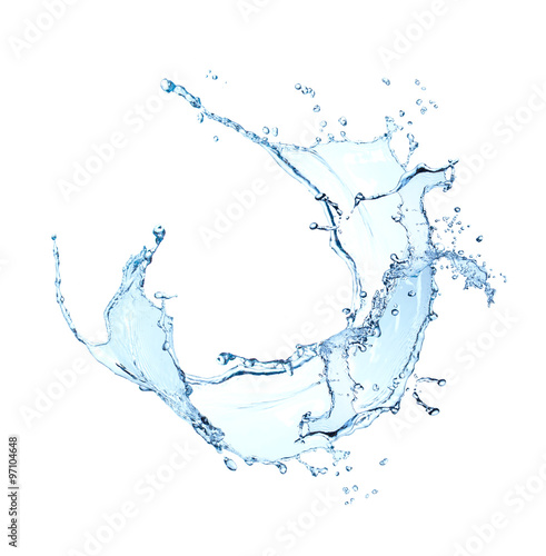 In de dag Water blue water splash isolated on white background