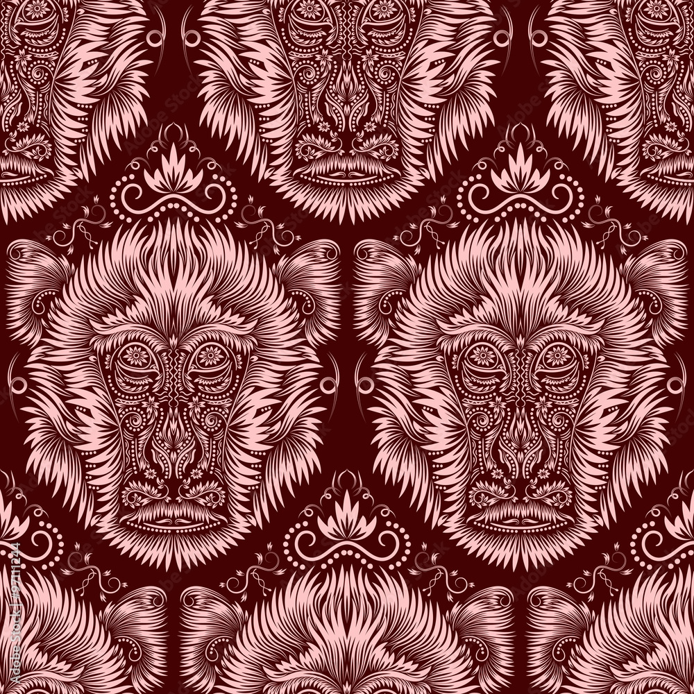 Abstract seamless pattern of repeating fiery monkey head. Background in antique style.