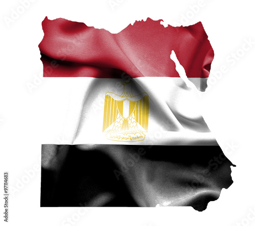 Canvas Print Map of Egypt with waving flag isolated on white