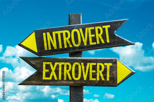 Fototapeta Introvert - Extrovert signpost with sky background