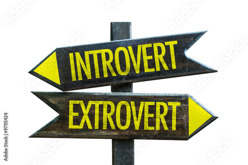 Photo  Introvert - Extrovert signpost isolated on white background