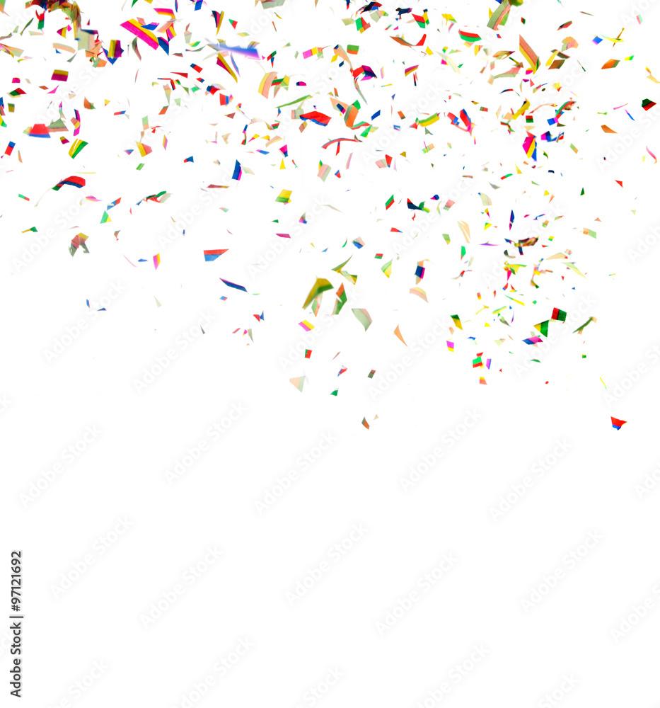 Fototapeta Colorful confetti on white background - obraz na płótnie