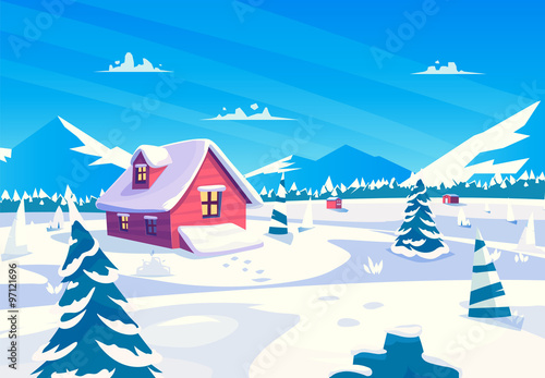 Foto op Aluminium Blauw Vector cartoon illustration of a beautiful snow covered village at day. square view