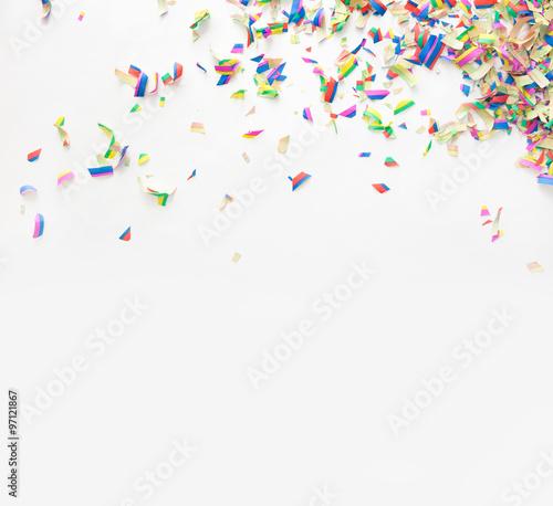 Fototapeta Colorful confetti on white background obraz na płótnie