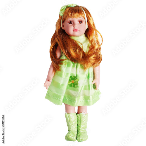 Photographie  red-haired doll isolated on white background