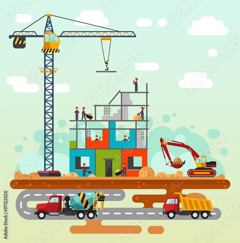 Vector flat style illustration of construction process  Including