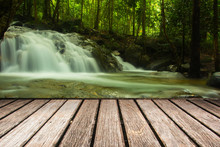 Wood Pier With Water Fall