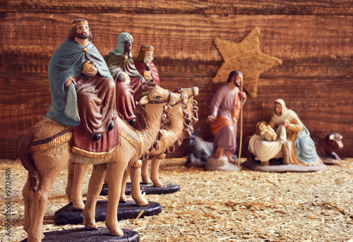 Fotografering the three kings and the holy family