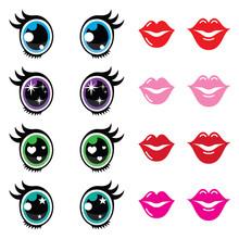 Kawaii Cute Eyes And Lips Icon...