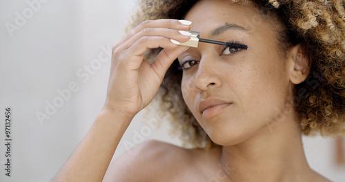 Valokuva  Woman Face With Mascara Brush