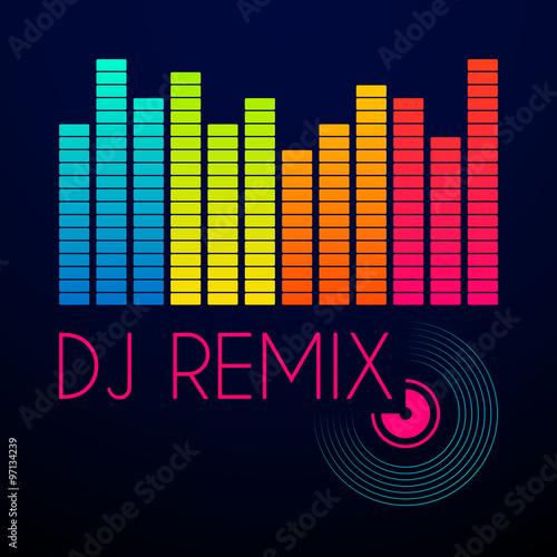 dj remix typography, t-shirt graphics  vector illustration
