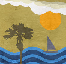 Beach Scene With Sailboat And Palm Tree On Wood Grain Texture