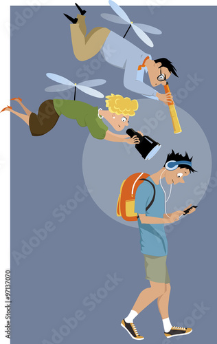 In de dag Ridders Helicopter parents hovering over their teenage son with a telescope and a binoculars, EPS 8 vector illustration