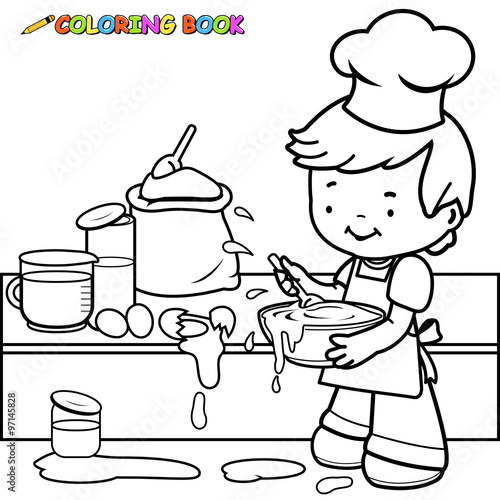 - Little Boy Cooking And Making A Mess Coloring Book Page. - Buy This Stock  Vector And Explore Similar Vectors At Adobe Stock Adobe Stock