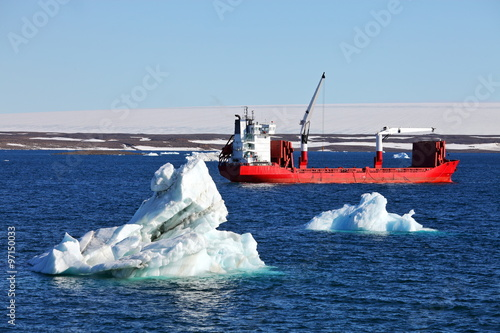 Wall Murals Arctic Iceberg and cargo ship