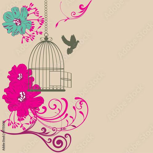 Poster de jardin Oiseaux en cage Vintage