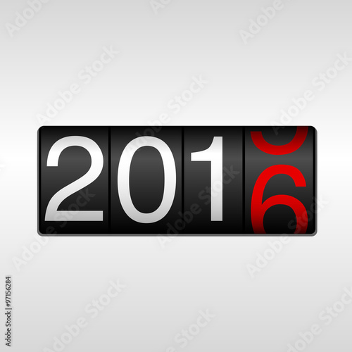 Fotografie, Obraz  2016 New Year Odometer - White and Red